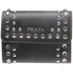 Prada Black Saffiano Leather Studded Wallet