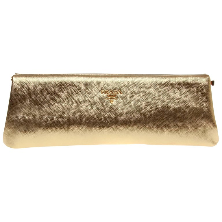 c23fe5bd1810 Prada Saffiano Gold Metallic Lux Frame Clutch at 1stdibs