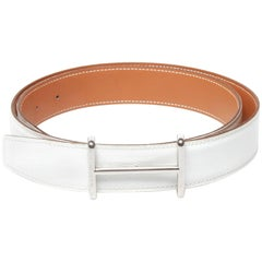 Hermes H stamp wight leather belt with silver hardware