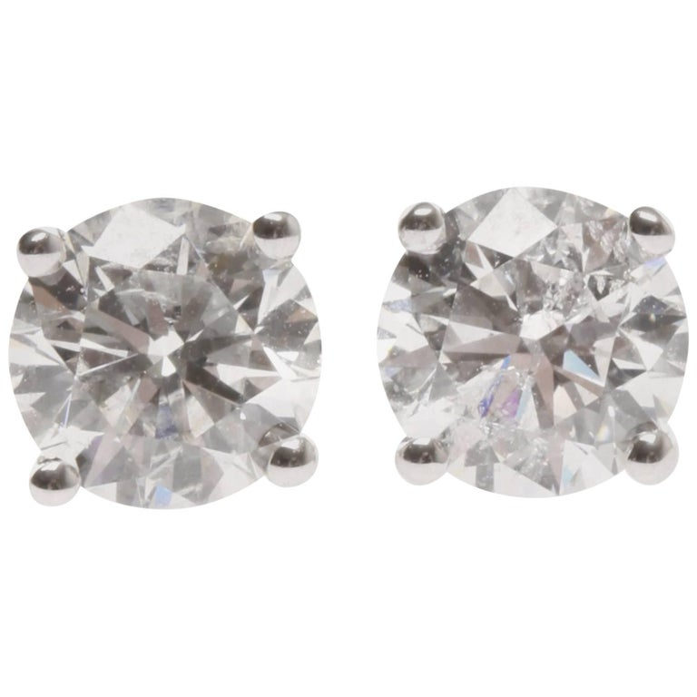 Lady S 18ct White Gold Diamond Earrings For