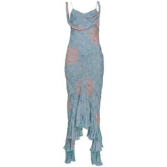 Vintage Dior by John Galliano Blue Silk Chiffon Floral Printed Bias Slip Dress