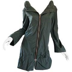 New Marni Size 40 Dark Green Nylon Cotton Trench Parka Rain Jacket Coat
