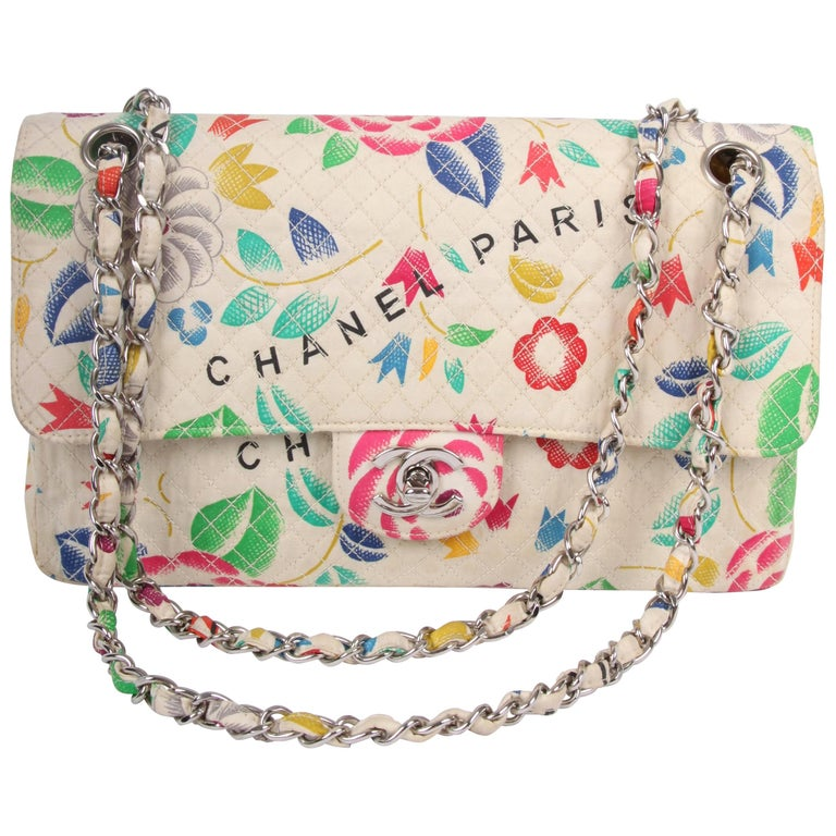 Chanel Vintage Flower Print multicolor Single Flap Bag, 1996-1997