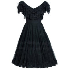 1955 Jacques Fath Haute-Couture Black Tiered Ruffle Lace Full Pleated Dress