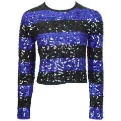 Sonia Rykiel Blue and Black Striped Sequin Crop Sweater - 38 - Circa 80's
