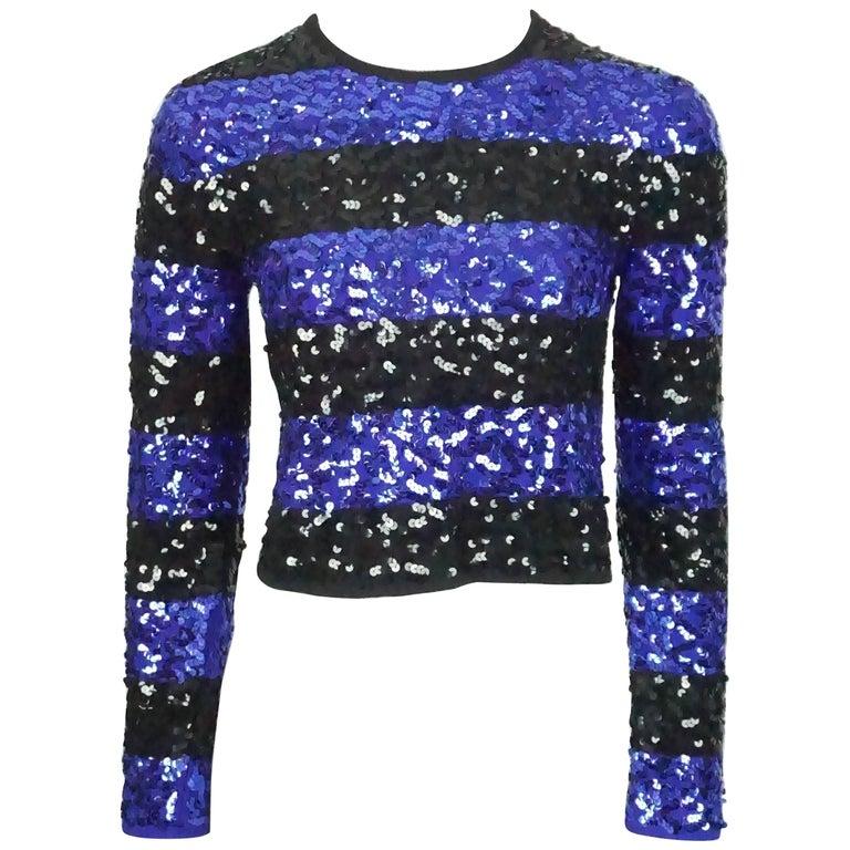 Sonia Rykiel Blue and Black Striped Sequin Crop Sweater - 38 - Circa 80's