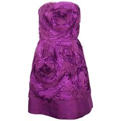 Oscar de la Renta Magenta Silk Organza Strapless Dress - 6