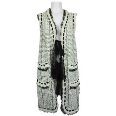 Chanel Ivory and Black Silk/Cotton Knit Lesage Long Vest/ Duster - 48 - 05P