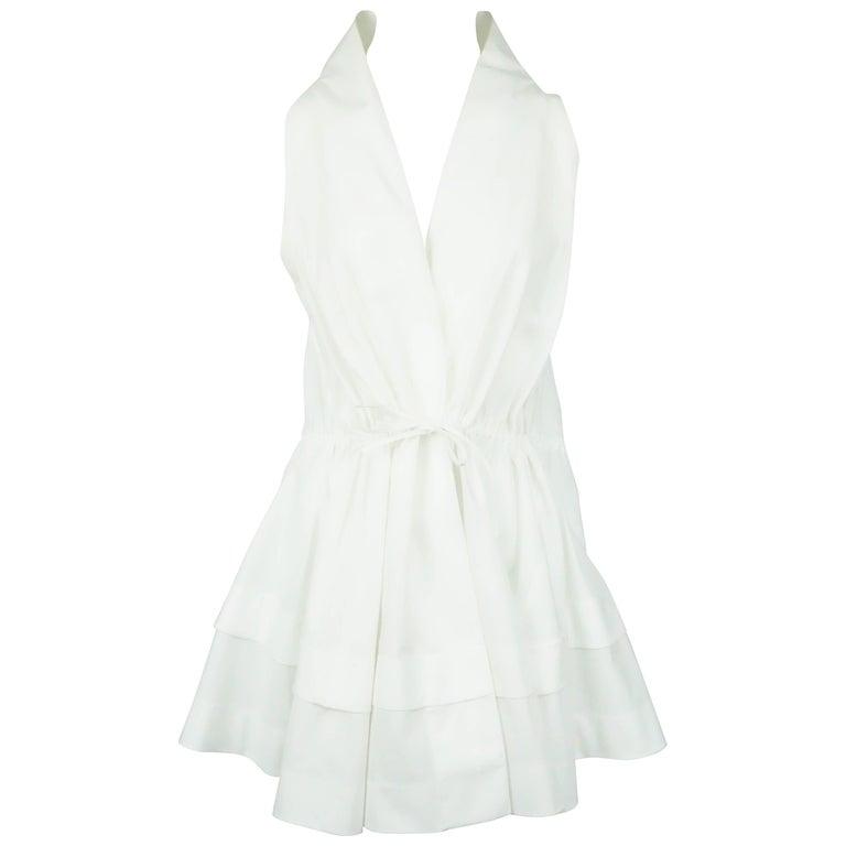 Alaia White Cotton Sleeveless Long Top - 42  For Sale