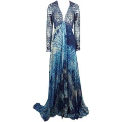 Zuhair Murad Blue Mosaic Silk Print and fully Beaded/Sequin Gown - 6 - NWT