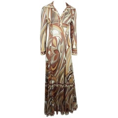 Emilio Pucci Brown Silk Print Maxi  Dress - M - Circa 60's