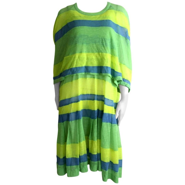 Comme des Garcons 1996 Collection Runway Fine Wool Striped Dress