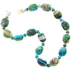 Natural Blue Peruvian Opal Necklace with Gold Plated Clasp