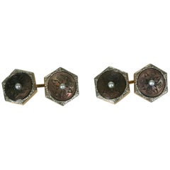 Art Deco Etched Mother of Pearl Cufflinks