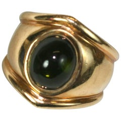 Bulgari Style Green Tourmaline Ring