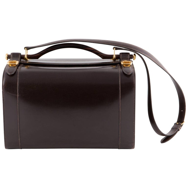 Hermes Brown Box Calf Vanity Tote Bag