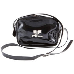 Black Patent Courreges Camera Crossbody Bag