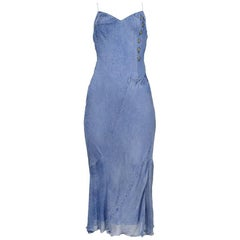 Iconic Dior by John Galliano Tromp L'oeil Denim Print Slip Dress 2000 Runway