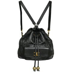 Chanel Large Black Leather Quilted Backpack w Gold Baubles & CC Logo