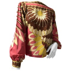 1970s Silk Crepe Lantern Sleeve Blouse with Large-Scale Abstract Floral Pattern