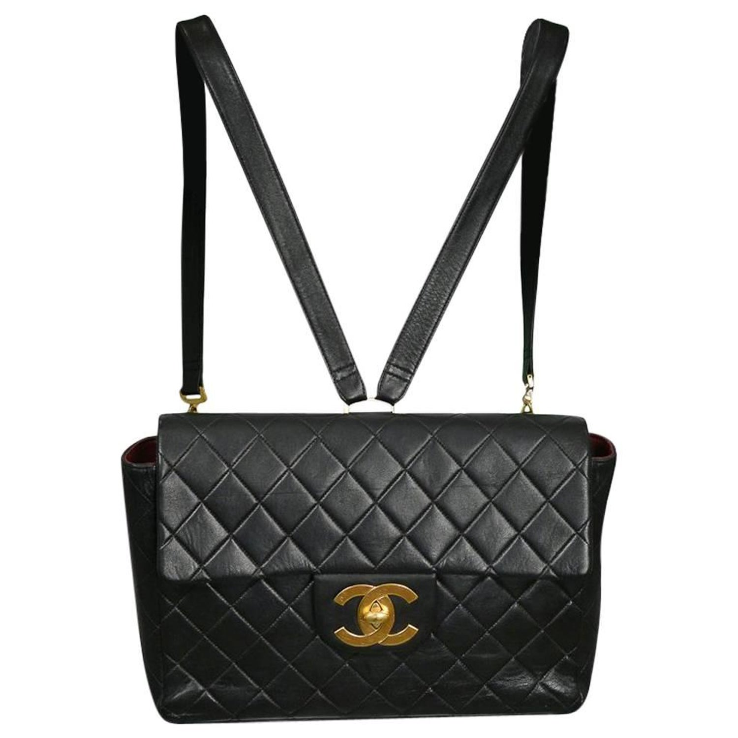 fa017f9330cfcf Unusual Chanel Large Rectangular Black Leather Quilted Backpack w CC Logo  at 1stdibs