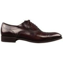 Men's SALVATORE FERRAGAMO Size 10.5 Brown LeatherCap Toe Brogue Lace Up