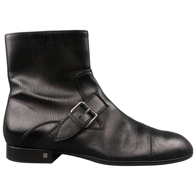 Men's LOUIS VUITTON Size 11.5 Black Epi Leather Buckle Strap Ankle Boots