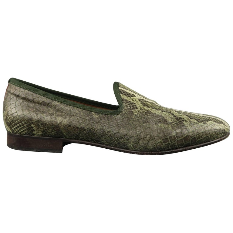 1b2f59de2eb89 Men's DEL TORO Size 11 Green Snake Print Leather Dress Slipper Loafers