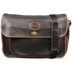Vintage GUCCI Bag Black & Brown Leather Crossbody Shoulder Messenger Bag