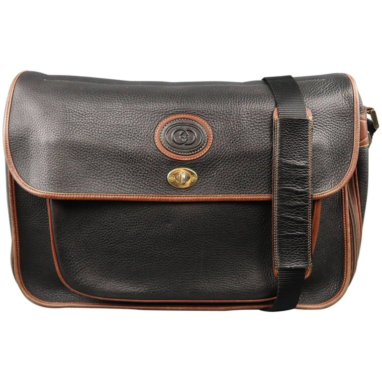 a64e966541ce Vintage GUCCI Bag Black & Brown Leather Crossbody Shoulder Messenger Bag  For Sale