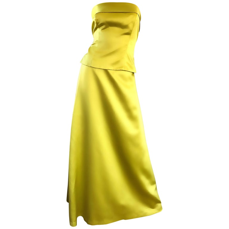 1990s Vera Wang Chartreuse Yellow Green Two Piece Satin Evening Gown Ensemble
