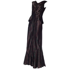 1930S Cranberry Red & Green Silk Taffeta Jacquard Haute Couture Gown With Peplu