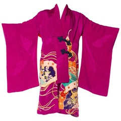 Hand-Painted Japanese Kimono Wrap Dress