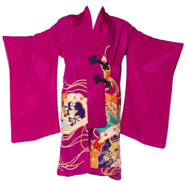 Hand-Painted Japanese Kimono Wrap Dress