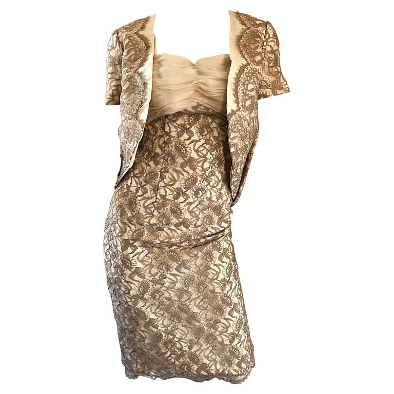 Sensational 1950s Demi Couture Nude Taupe Tan French Lace 50s Dress + Bolero