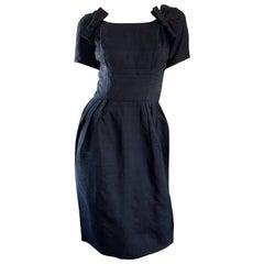 Suzy Perette 1950s Black Silk Shantung Short Sleeve Vintage 50s Bombshell Dress