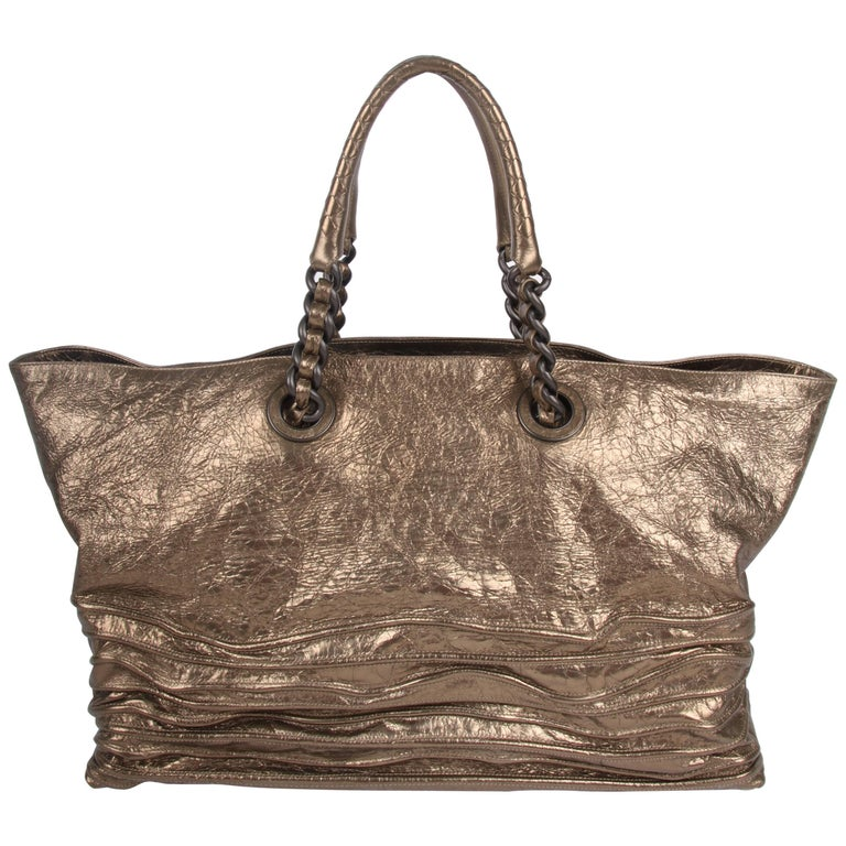 Bottega Veneta metallic bronze Corded Wave Shopping Tote