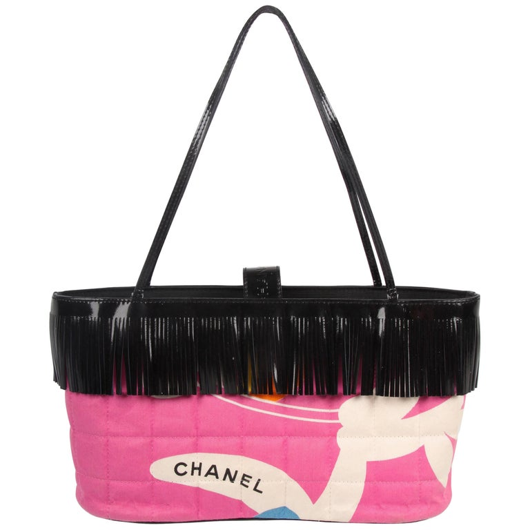 Chanel Pink and Black Canvas and Patent Leather Mini Bag   For Sale