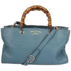 Gucci denim blue Bamboo Shopper Tote Bag Medium