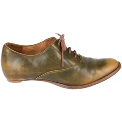 Margiela olive green leather brogues