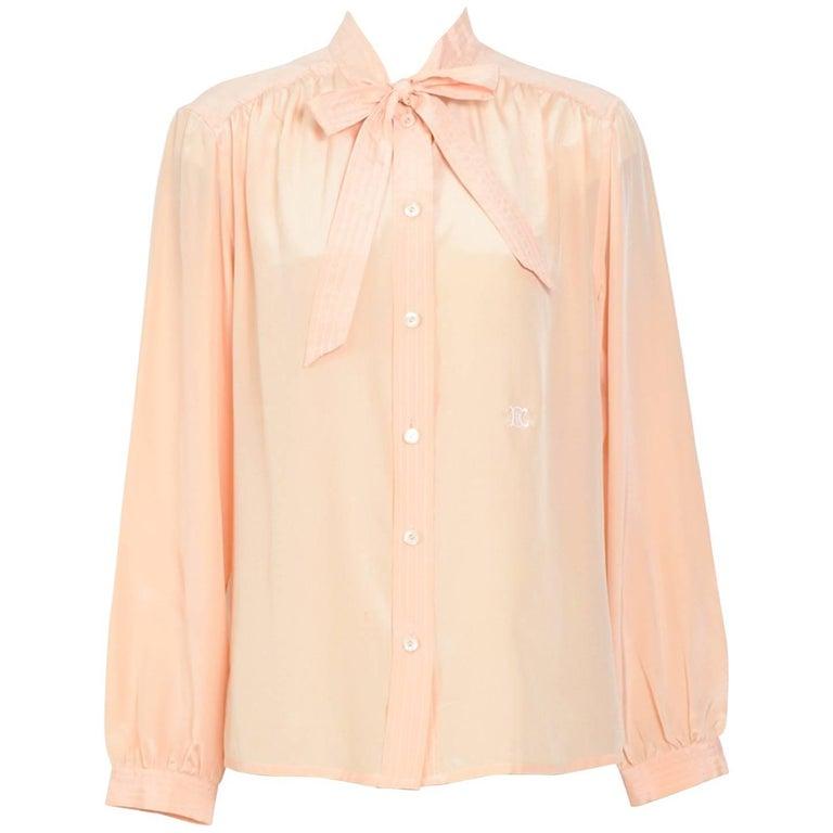 Celine silk nude color blouse, 1970s