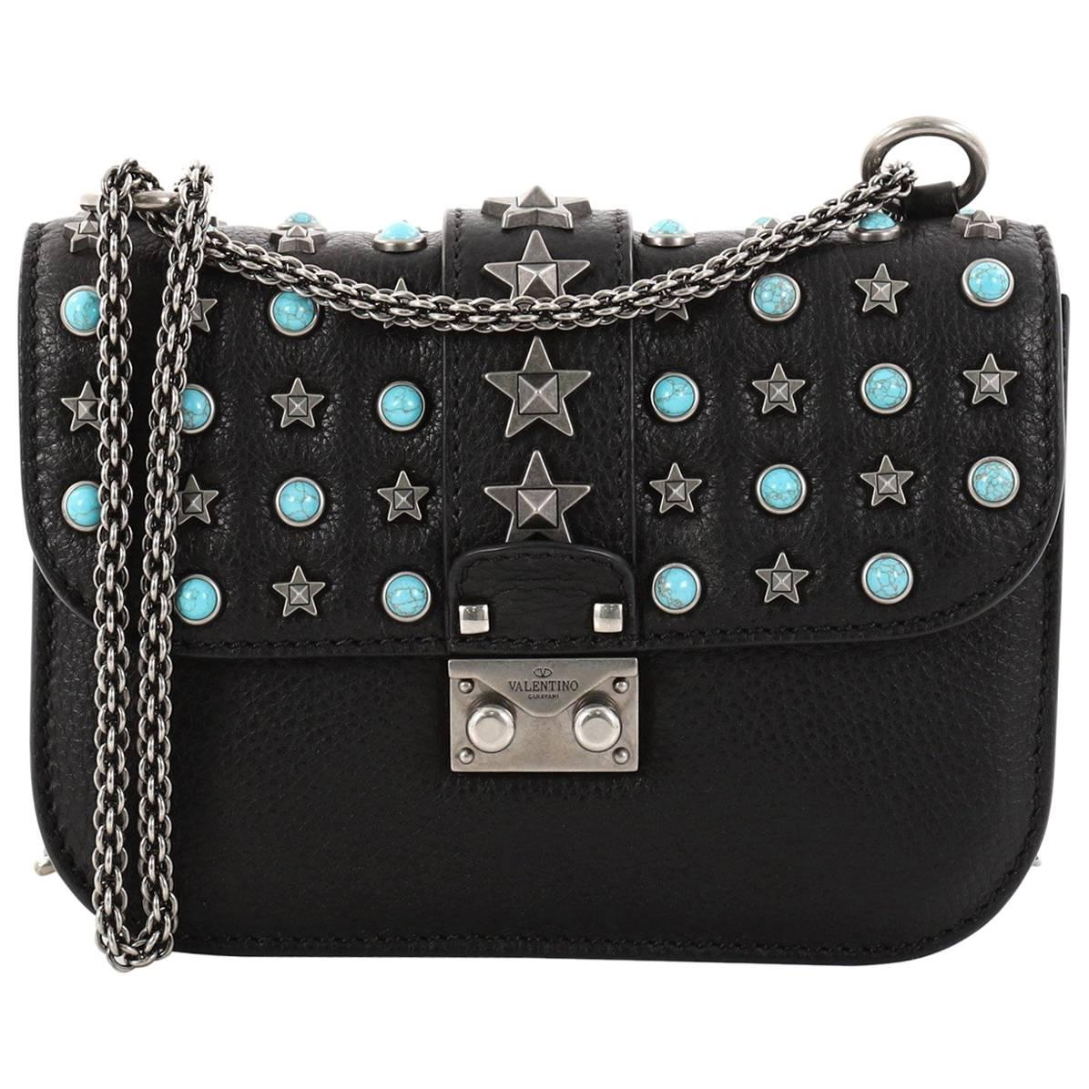 Valentino Star Studded Glam Lock Shoulder Bag Leather With Cabochons Smal wjG7u1YiX