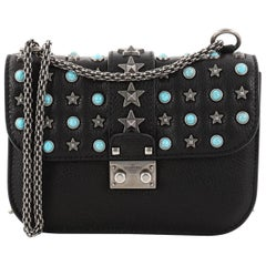 Valentino Star Studded Glam Lock Shoulder Bag Leather with Cabochons Smal
