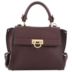 Salvatore Ferragamo Sofia Satchel Pebbled Leather Small