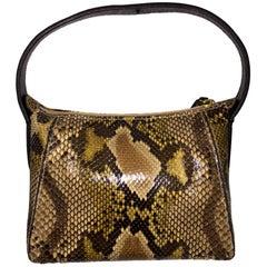 Gianfranco Ferre Python w/ Ostrich Trim & Handle Small Handbag Bag