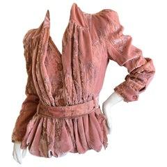 Christian Dior by John Galliano Vintage Rose Devore Velvet Embellished Jacket