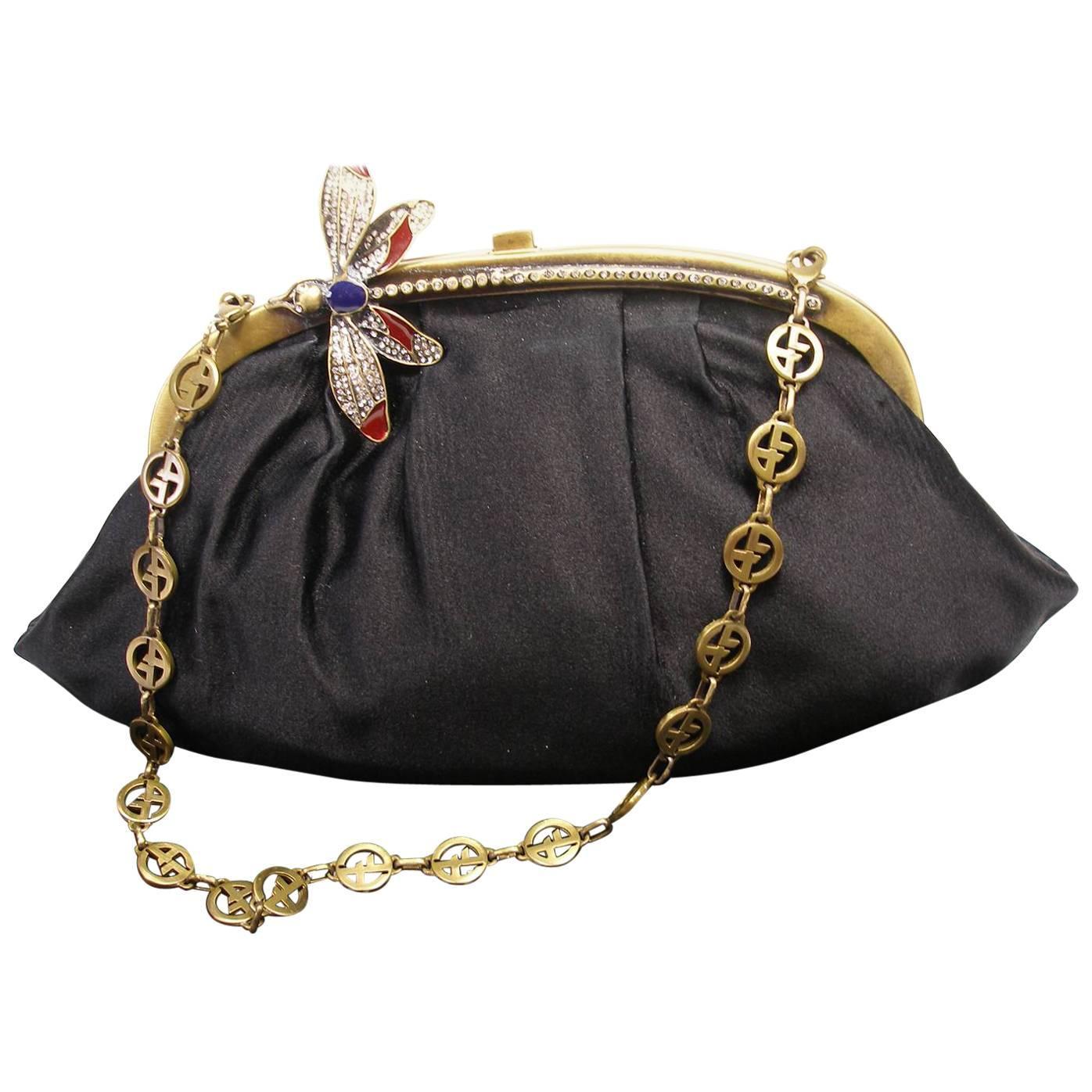 1stdibs Armani Vintage Evening Small Handbag Or Clutch Black Satin And Strass Butterfly BTgrm