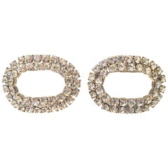 """50'S Pair Of Silver & Swarovski Crystal """"Shoe"""" Clips By, MUSI"""