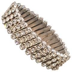 1950'S Silver & Crystal Rhinestone Expansion Link Bracelet