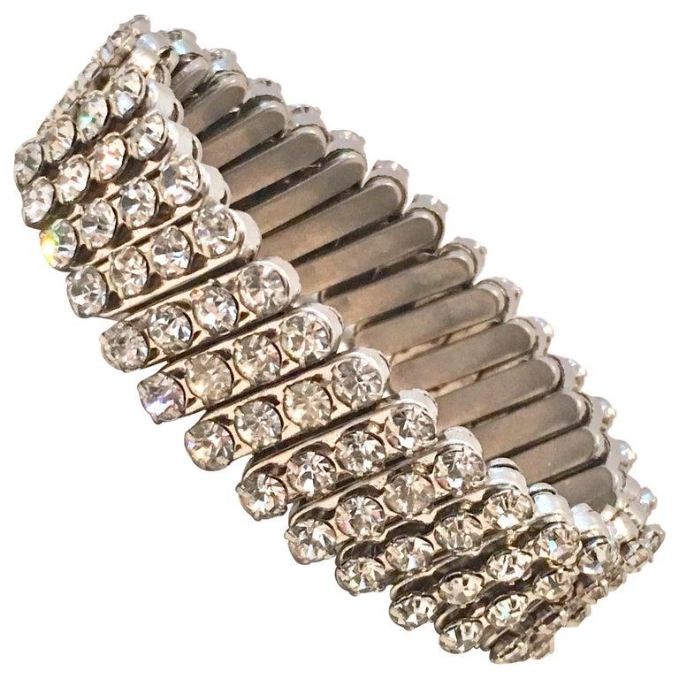 79d15be0af72c 1950'S Silver & Crystal Rhinestone Expansion Link Bracelet